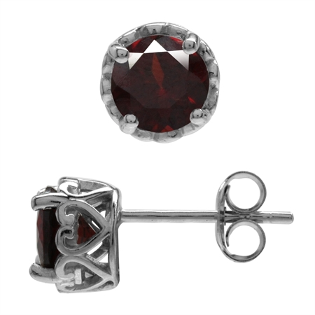6MM Round Natural Garnet White Gold Plated 925 Sterling Silver Victorian Style Stud/Post Earrings