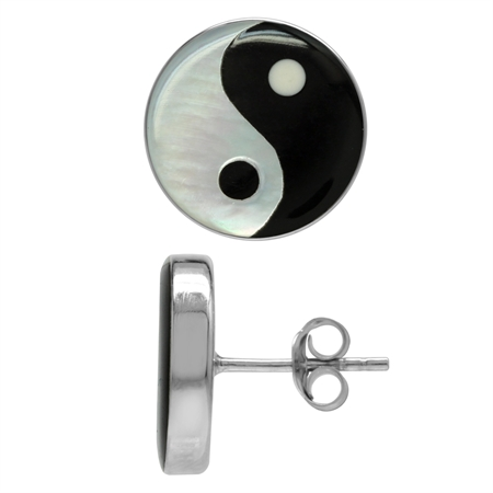 14MM White Mother Of Pearl & Created Black Onyx 925 Sterling Silver Yin Yang Stud Earrings
