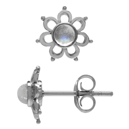 3MM Extra Petite Natural Moonstone White Gold Plated 925 Sterling Silver Flower Stud Earrings