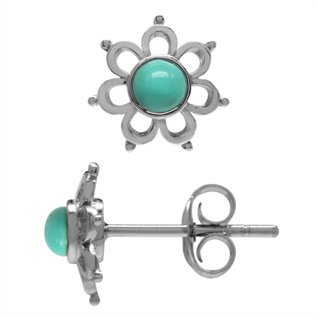 3MM Extra Petite Created Green Turquoise White Gold Plated 925 Sterling Silver Flower Stud Earrings