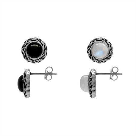 2-Pair Set Natural Moonstone & Created Black Onyx 925 Sterling Silver Celtic Knot Stud/Post Earrings