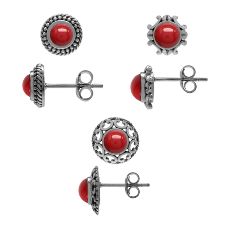 3-Pair Set Created Coral 925 Sterling Silver Rope, Victorian Style & Filigree Stud/Post Earrings