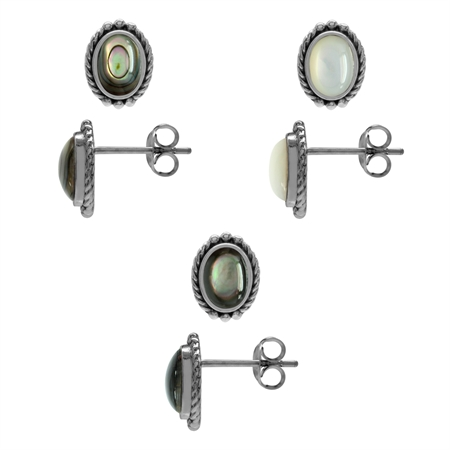 3-Pair Set Abalone/Paua, White & Black Mother Of Pearl 925 Sterling Silver Rope Stud/Post Earrings