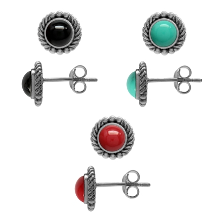 3-Pair Set Created Black Onyx, Green Turquoise & Red Coral 925 Sterling Silver Rope Stud Earrings