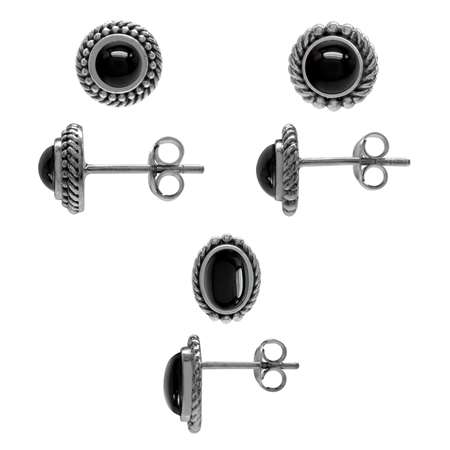 3-Pair Set Created Onyx Gold Plated 925 Sterling Silver Rope Balinese Style Stud/Post Earrings