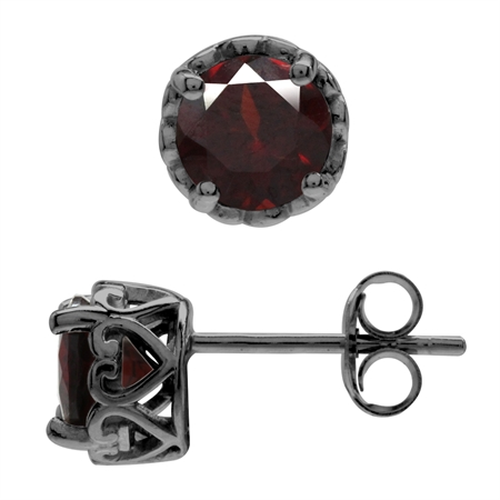 6MM Round Natural Garnet Black Rhodium Plated 925 Sterling Silver Victorian Style Stud/Post Earrings