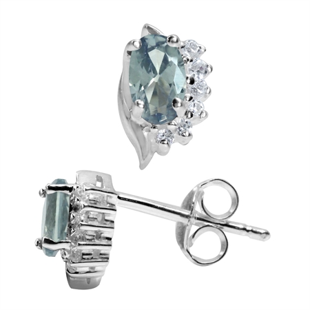Petite Simulated Color Change Alexandrite White Gold Plated 925 Stering Silver Stud Earrings