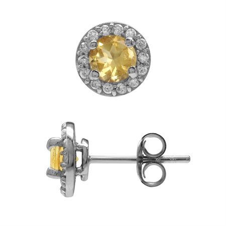 1ct. 5MM Natural Citrine & White CZ Gold Plated 925 Sterling Silver Halo Stud Earrings