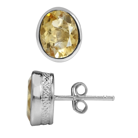 3.78ct. 9x7MM Natural Oval Shape Citrine 925 Sterling Silver Pattern Stud Earrings