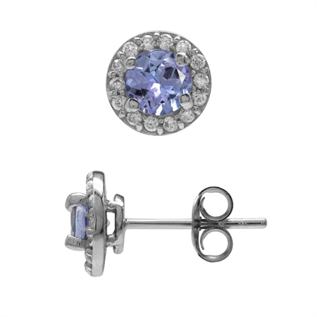 5MM Genuine Tanzanite & White CZ Gold Plated 925 Sterling Silver Halo Stud Earrings