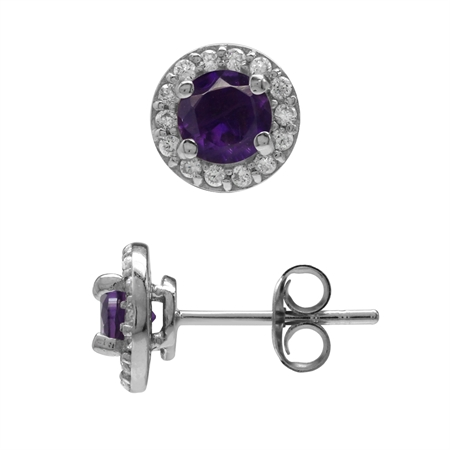 5MM Natural African Amethyst & White CZ Gold Plated 925 Sterling Silver Halo Stud Earrings