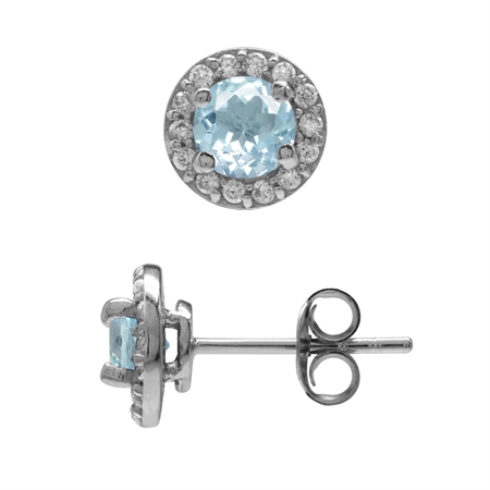 1.26ct. 5MM Genuine Blue Topaz & White CZ Gold Plated 925 Sterling Silver Halo Stud Earrings