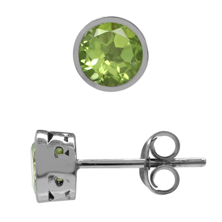 1.5ct. Petite Natural Peridot White Gold Plated 925 Sterling Silver Filigree Stud Earrings