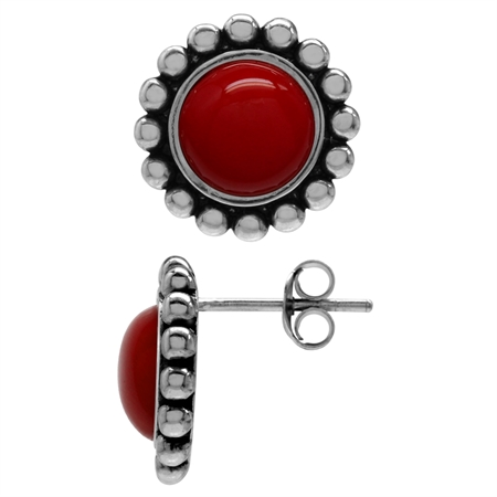 8MM Created Red Coral 925 Sterling Silver Bali/Balinese Style Stud/Post Earrings