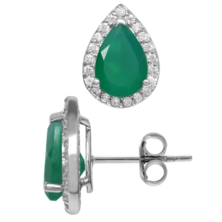 3.42ct. 10x7MM Natural Pear Shape Emerald Green Agate 925 Sterling Silver Halo Stud Earrings