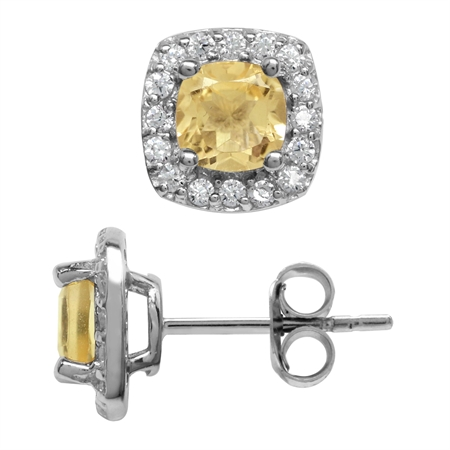1.14ct. 5MM Petite Natural Cushion Shape Citrine 925 Sterling Silver Halo Stud Earrings
