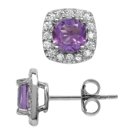 1.08ct. 5MM Petite Natural Cushion Shape Amethyst 925 Sterling Silver Halo Stud Earrings