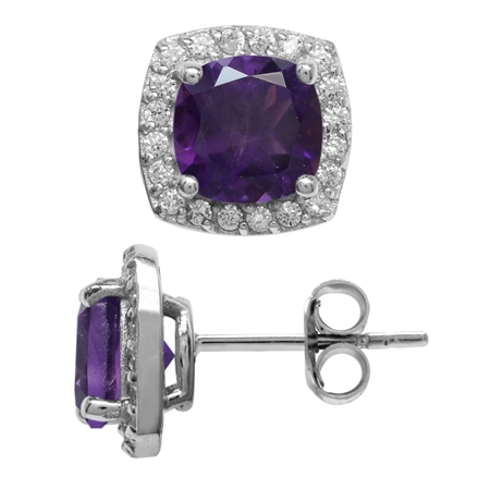2.82ct. 7MM Natural Cushion Shape African Amethyst 925 Sterling Silver Halo Stud Earrings