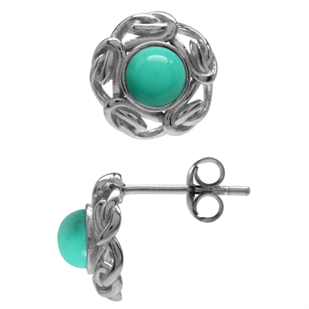 Created Green Turquoise White Gold Plated 925 Sterling Silver Celtic Knot Stud/Post Earrings