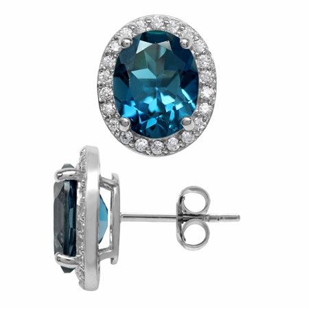 5.32ct 10x8MM Genuine Oval Shape London Blue Topaz 925 Sterling Silver Halo Stud Earrings