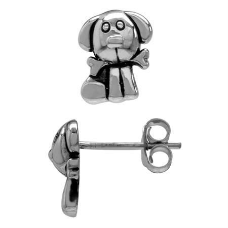 Petite 925 Sterling Silver Dog Pet Teens/Girls Casual Post/Stud Earrings
