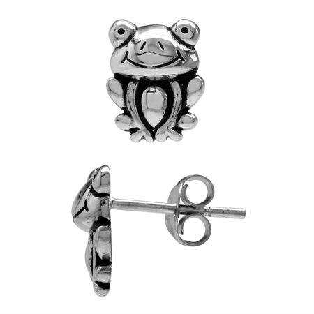 925 Sterling Silver Frog Teens/Girls Casual Post/Stud Earrings