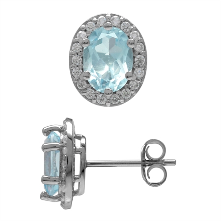 3.02ct. 8x6MM Genuine Oval Shape Blue Topaz White Gold Plated 925 Sterling Silver Halo Stud Earrings