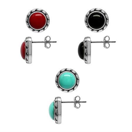 8MM 3-Pair Set Created Red Coral, Black Onyx & Turquoise 925 Sterling Silver Stud/Post Earrings