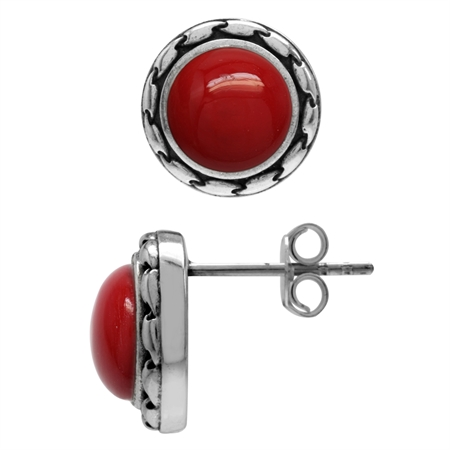 8MM Created Red Coral 925 Sterling Silver Stud/Post Earrings