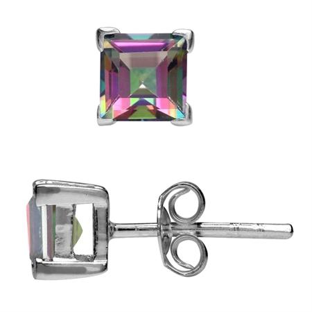 1.66ct. 5MM Square Shape Mystic Fire Topaz 925 Sterling Silver Stud Earrings