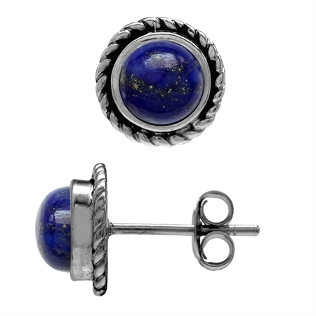 6MM Genuine Round Shape Lapis 925 Sterling Silver Rope Stud Earrings