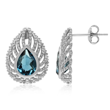 2.56ct. Genuine London Blue Topaz 925 Sterling Silver Filigree Peacock Inspired Drop Post Earrings