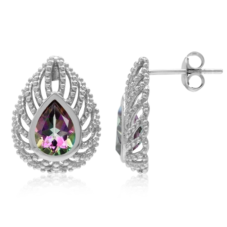 2.48ct. Pear Mystic Fire Topaz 925 Sterling Silver Filigree Peacock Inspired Drop Post Earrings