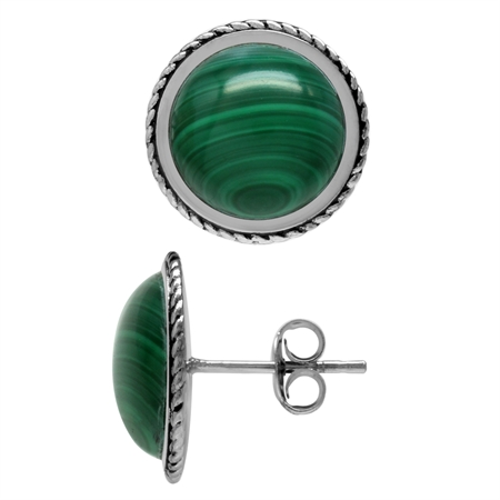 12MM Round Shape Created Malachite 925 Sterling Silver Rope Stud/Post Earrings