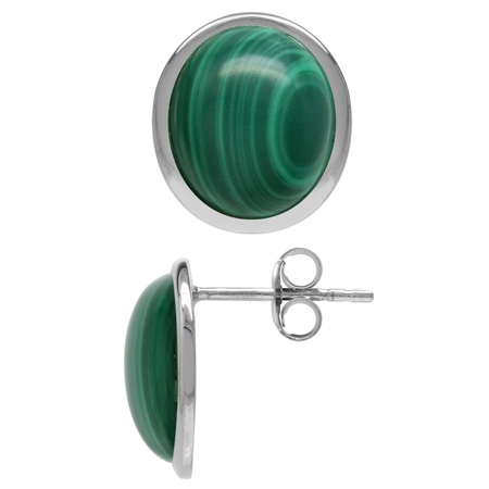 12x10MM Oval Shape Created Malachite White Gold Plated 925 Sterling Silver Stud/Post Earrings