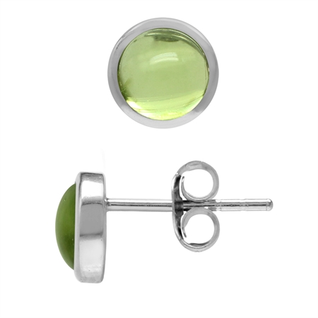 5MM Petite Cabochon Peridot White Gold Plated 925 Sterling Silver Stud Earrings