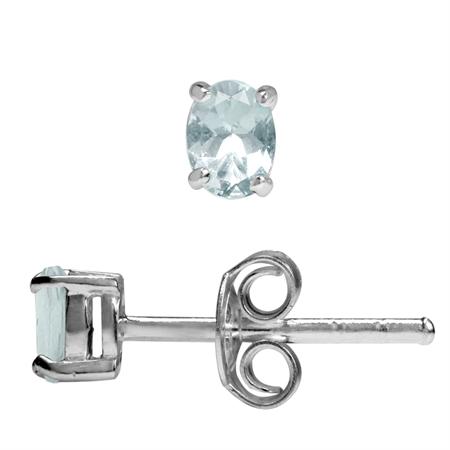 4x3MM Extra Petite Genuine Oval Shape Blue Aquamarine 925 Sterling Silver Stud Earrings