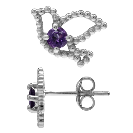 Petite Natural Amethyst White Gold Plated 925 Sterling Silver Bird Teens Casual Post/Stud Earrings