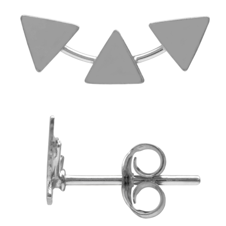 Triple Triangle Geometric White Gold Plated 925 Sterling Silver Crawler Stud Earrings