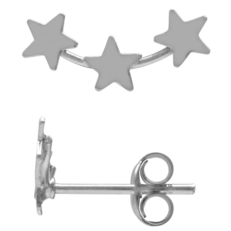 White Gold Plated 925 Sterling Silver 5-Star Teens/Girls Casual Post/Stud Earrings