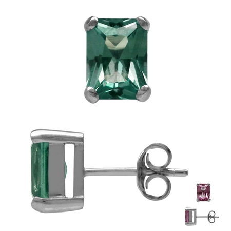 8x6MM Octagon Simulated Color Change Alexandrite White Gold Plated 925 Sterling Silver Stud Earrings