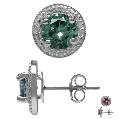 7MM Round Shape Simulated Color Change Alexandrite 925 Sterling Silver Halo Stud Earrings
