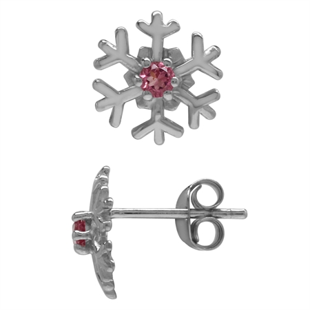 2.5MM Extra Petite Natural Round Shape Pink Tourmaline 925 Sterling Silver Snowflake Stud Earrings