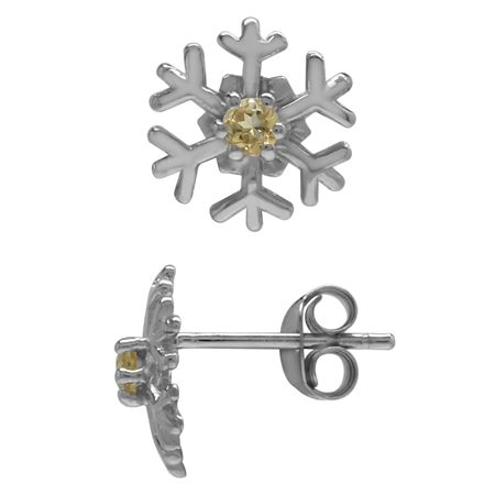 2.5MM Extra Petite Natural Round Shape Citrine 925 Sterling Silver Snowflake Stud Earrings