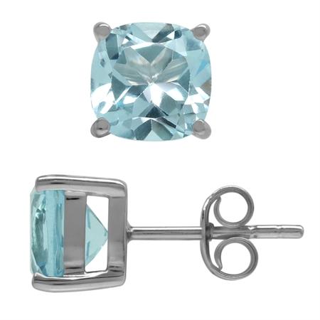 3.8ct. 7MM Genuine Cushion Shape Blue Topaz 925 Sterling Silver Stud Earrings