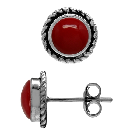 6MM Created Round Shape Red Coral 925 Sterling Silver Rope Stud Earrings