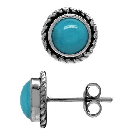 6MM Genuine Round Shape Arizona Turquoise 925 Sterling Silver Rope Stud Earrings