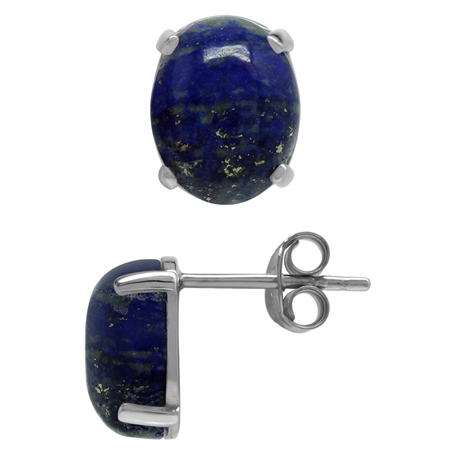 Natural Oval 10x8 MM Lapis Lazuli 925 Sterling Silver Stud Earrings