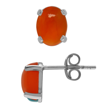 Genuine Oval 8x6 MM Carnelian 925 Sterling Silver Stud Earrings