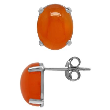 Genuine Oval 10x8 MM Carnelian 925 Sterling Silver Stud Earrings